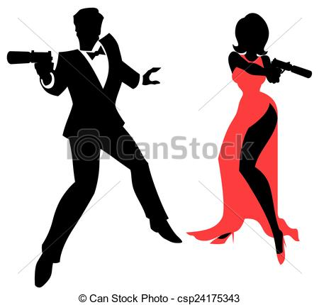 Silhouettes Of Spy Couple Over White Bac-Silhouettes of spy couple over white background. no. ClipartLook.com eps vector - Search Clip  Art, Illustration, Drawings and Graphics Images - csp24175343-21