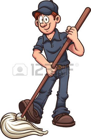 janitor: Cartoon janitor. Vector clip art illustration with simple gradients. All in a