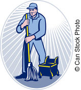 ... Janitor Cleaner With Mop Cleaning Retro - illustration of a.