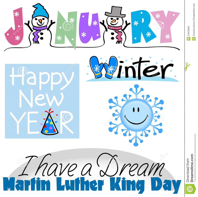 January Events Clip Art Set