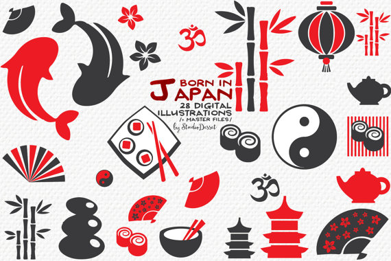 Japanese Icons, Japan Clipart, Oriental Sushi, Koi Fish, Bamboo, Om in Red  and Grey, Digital Clip Art japan C232