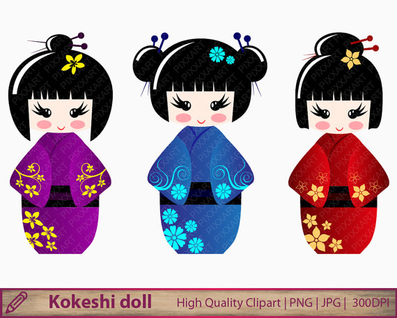 Kokeshi dolls clipart, japanese dolls clip art, japan kawaii graphics,  scrapbooking, digital instant download, png jpg 300dpi