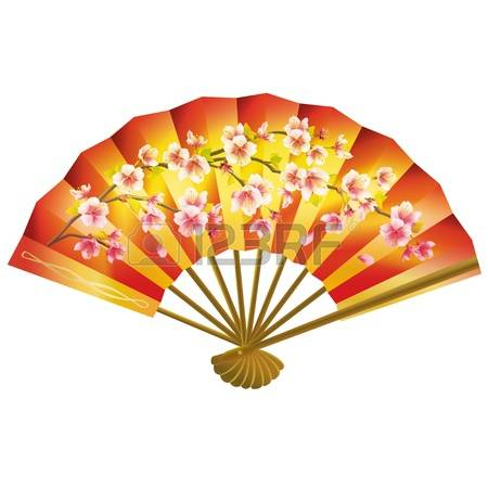 japanese fan: Colorful Japanese fan with sakura blossom pattern isolated on white background. Vector