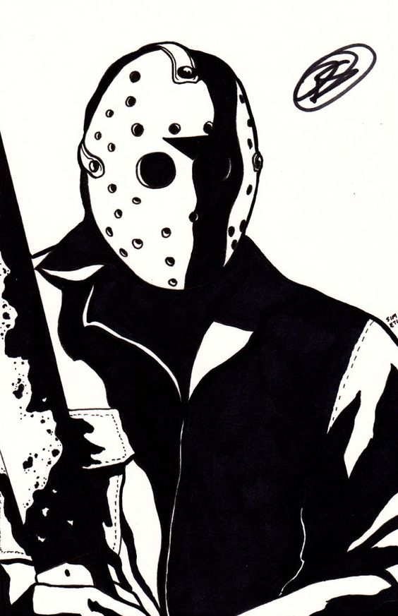 JASON VOORHEES Friday the 13th original art by Peter Simeti, $25.00