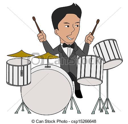 ... Jazz Drummer Cartoon - Drums Player -... Jazz drummer cartoon - Drums player illustration isolated on.-17