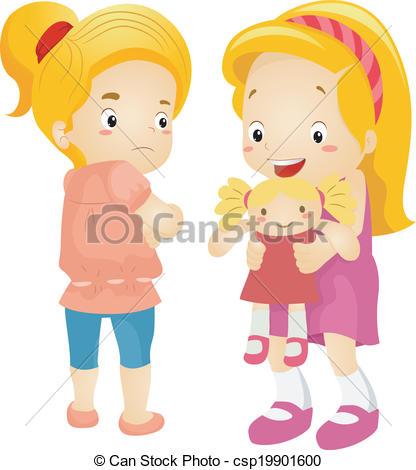 Jealous Girl - Illustration of a Little -Jealous Girl - Illustration of a Little Girl Jealous Over.-2