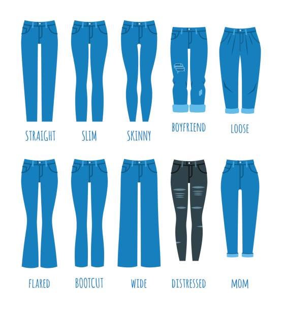 Women jeans styles collection vector art illustration
