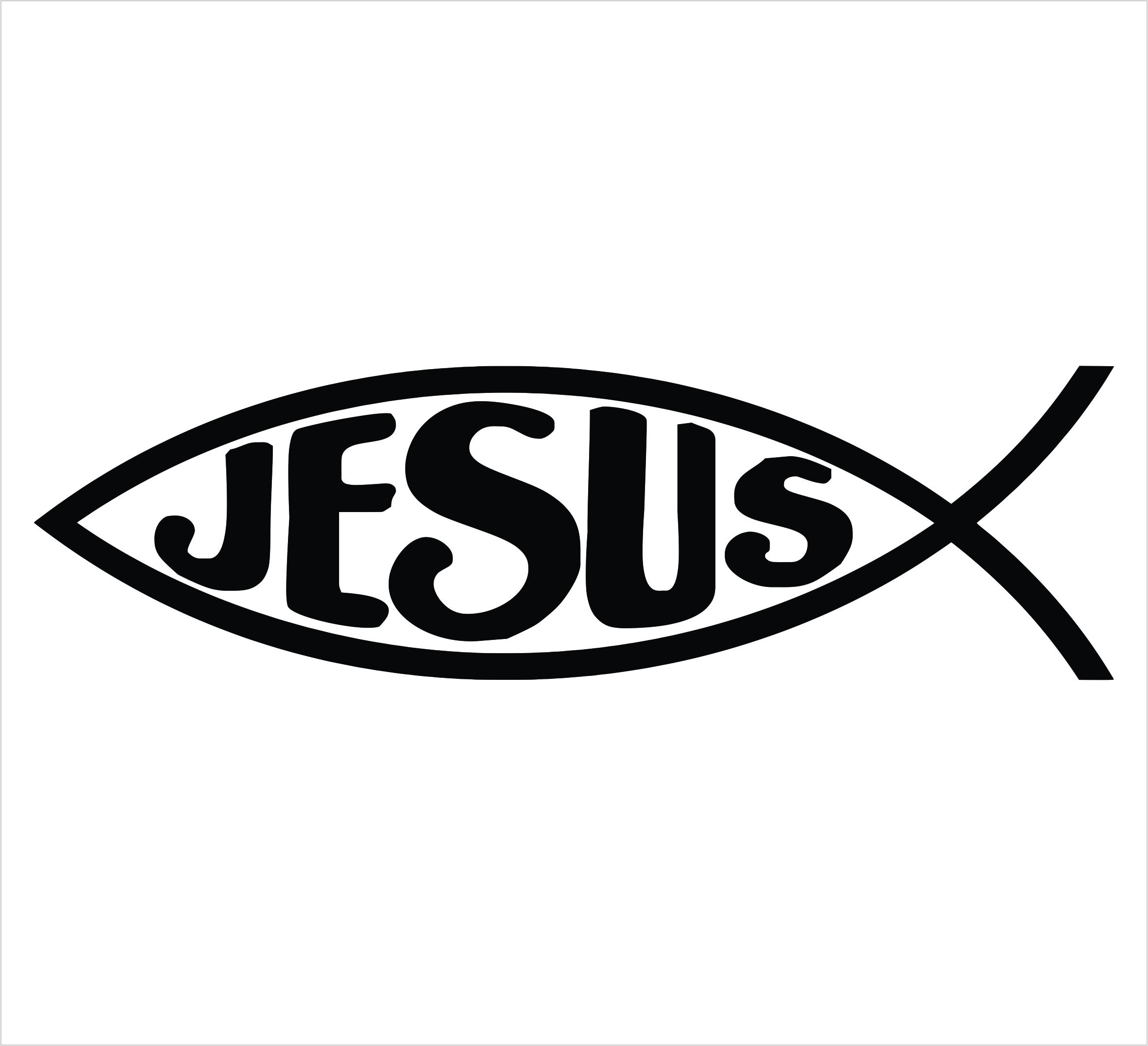 Jesus Fish Single Color Decal Powercall -Jesus Fish Single Color Decal Powercall Emergency Sirens Window-17