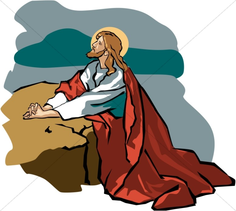 Jesus in Gethsemane with Red Robe