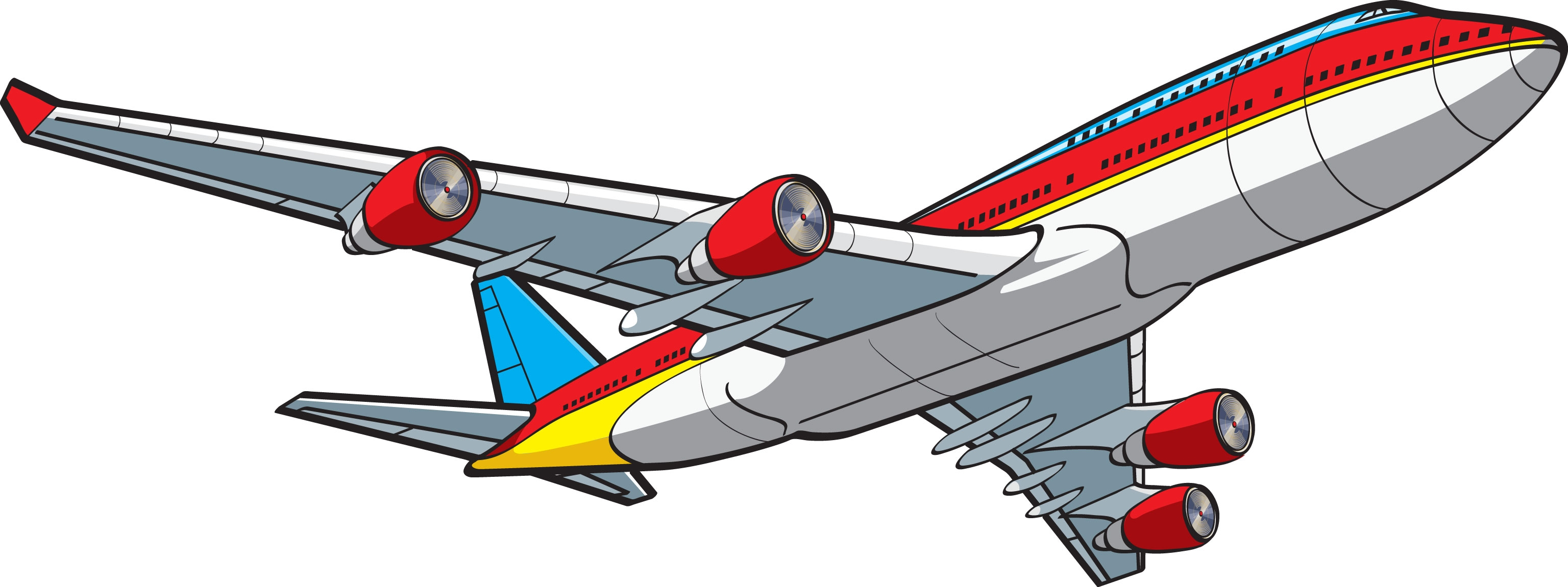Jet airplane flying clipart