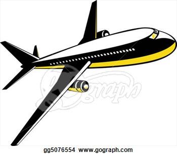 Jet In-Flight Clip Art