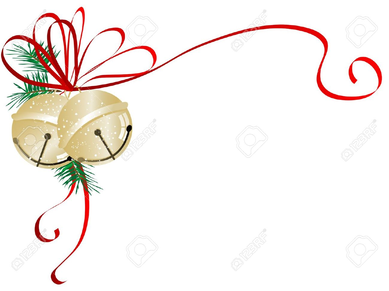 jingle bell: Two golden jingle bells with red ribbon