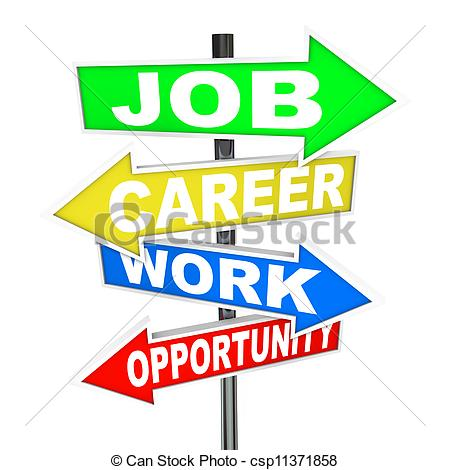 Job Career Work Opportunity Words Road Signs - csp11371858