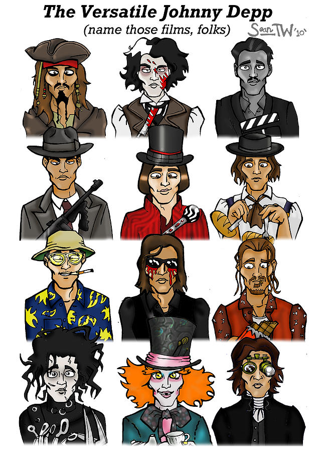 Benny Digital Art - The Versatile Johnny Depp by Sean Williamson