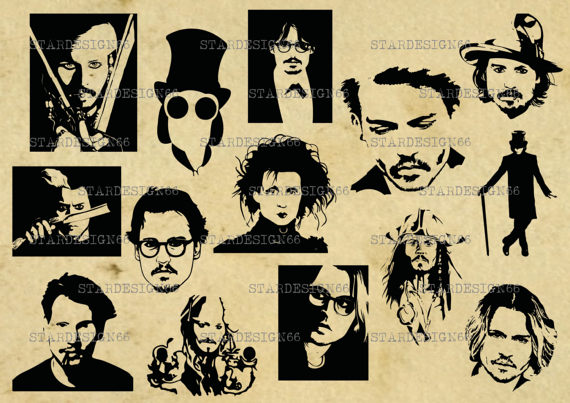 Digital SVG PNG JPG Johnny Depp, silhouette, vector, clipart, instant  download
