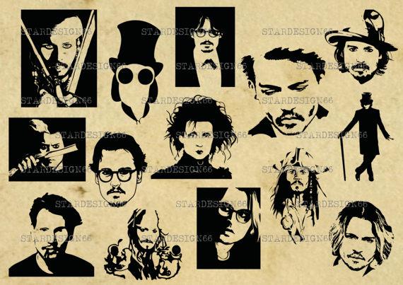 Digital SVG PNG JPG Johnny Depp, silhoue-Digital SVG PNG JPG Johnny Depp, silhouette, vector, clipart, instant  download-5