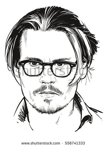 January 16, 2017: Portrait of Hollywood -January 16, 2017: Portrait of Hollywood actor Johnny Depp. Vector  illustration. Editorial-13