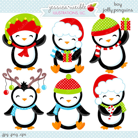 Jolly Penguins Cute Digital Clipart Commercial Use Ok Christmas