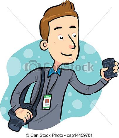 ... Journalist - journalist looking for news. vector eps 8.