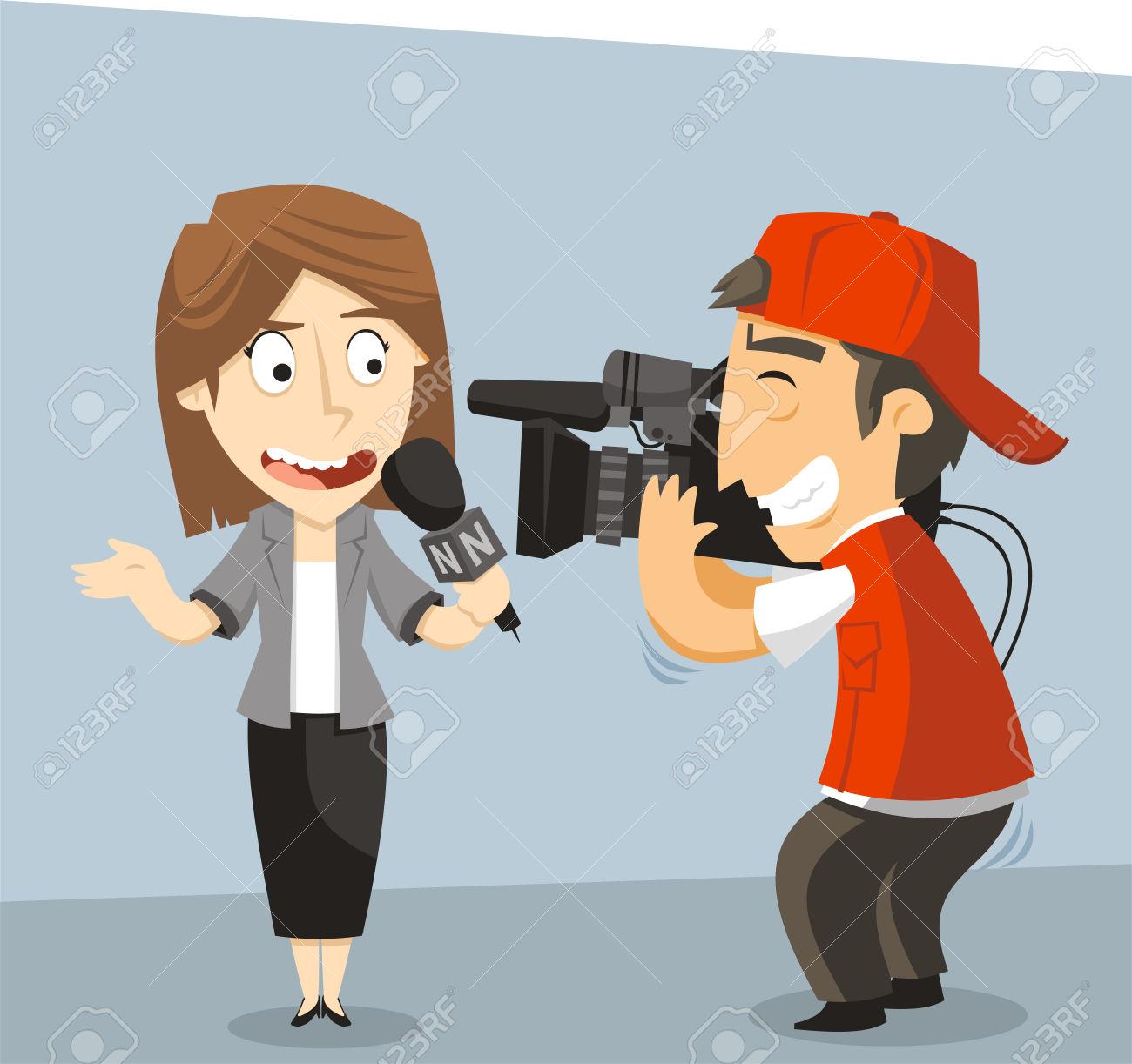 journalist: Journalist News Reporter Interview, with journalist and  interviewee. Vector illustration cartoon.