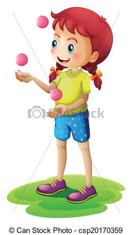 A young girl juggling - csp20170359