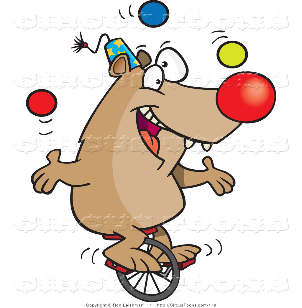 Circus Clipart of a Cartoon Circus Bear Juggling Balls on a Unicycle