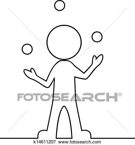 Clip Art - Simple man juggling with balls . Fotosearch - Search Clipart,  Illustration Posters