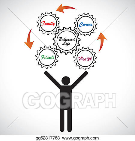 . ClipartLook.com Concept illustration of person juggling work life balance. The graphic  shows man trying to achieve