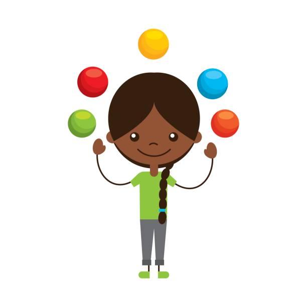 cute girl Juggling balls char - Juggling Clipart