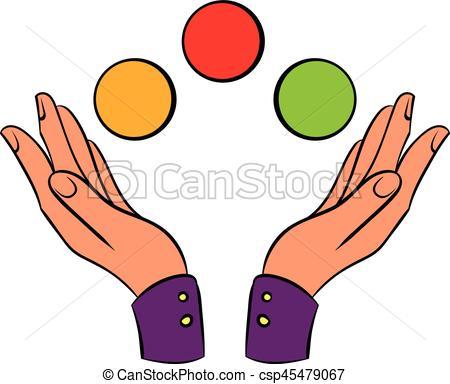 Hands juggling balls icon cartoon - csp45479067