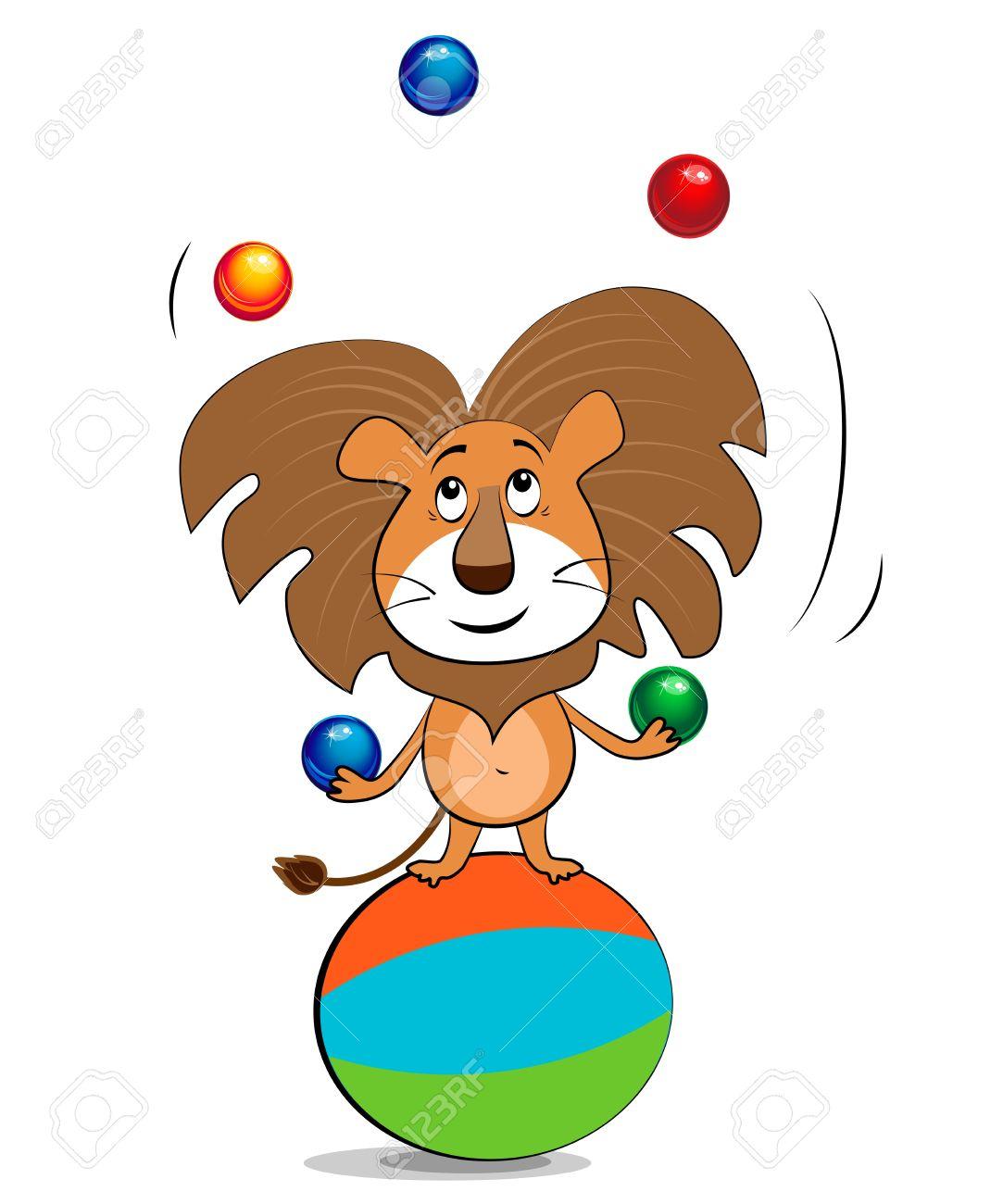 Lion juggling balls Illustration