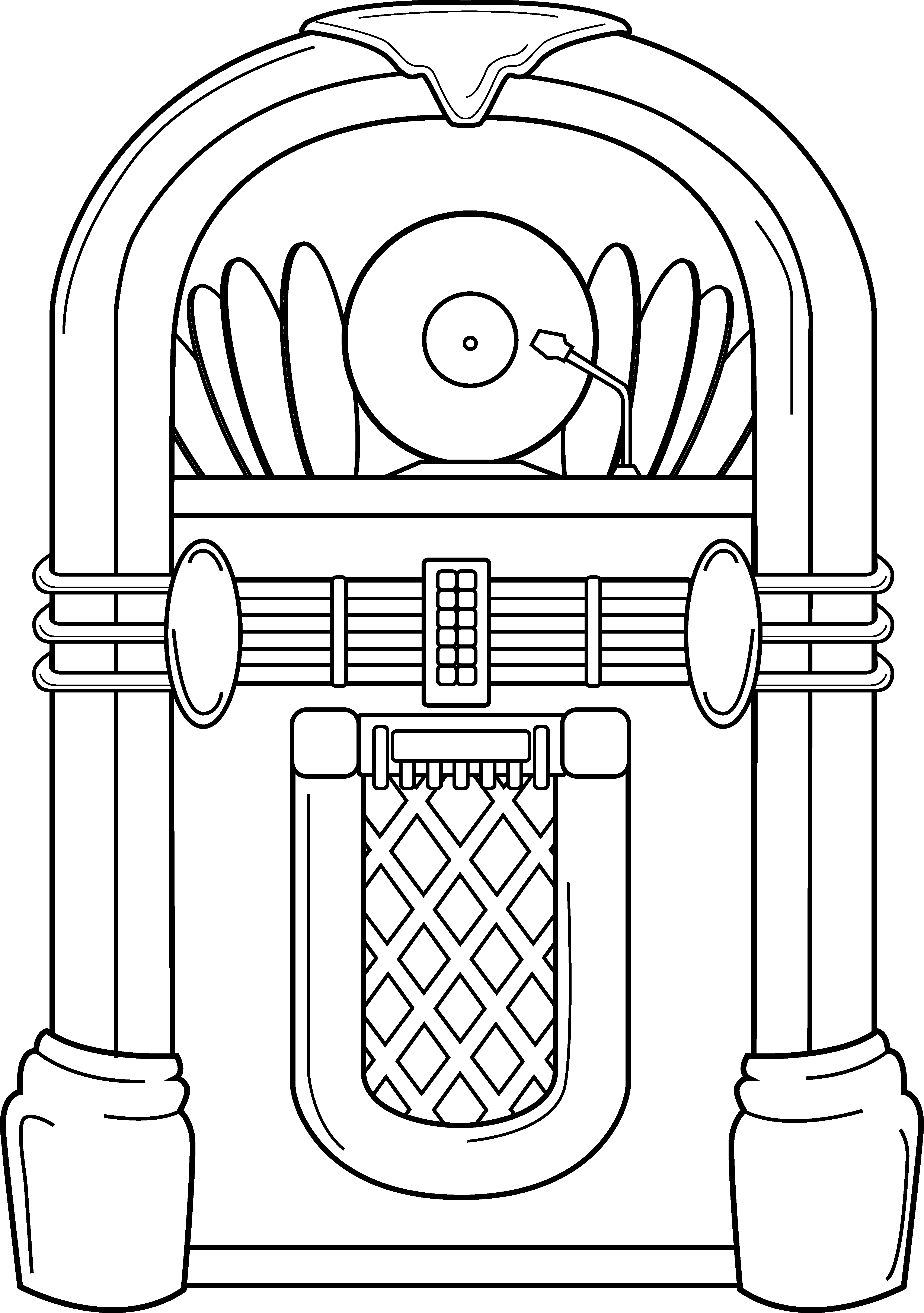 Jukebox Clipart. Jukebox Coloring Page