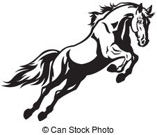 ... jumping horse black and white illustration