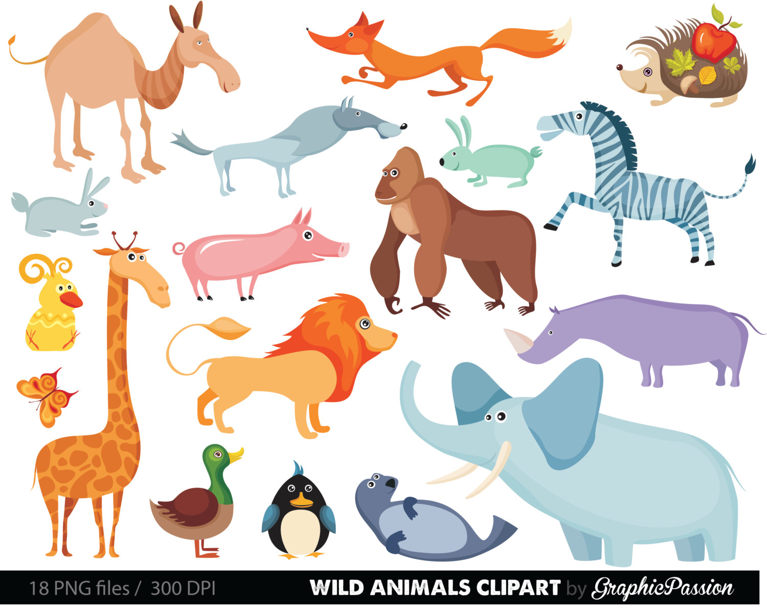 Jungle Animals Baby Digital Clipart / Sa-Jungle Animals Baby Digital Clipart / Safari Animals Clip art / Zoo Animals Clipart / For Personal And Commercial Use/ Instant Download-13