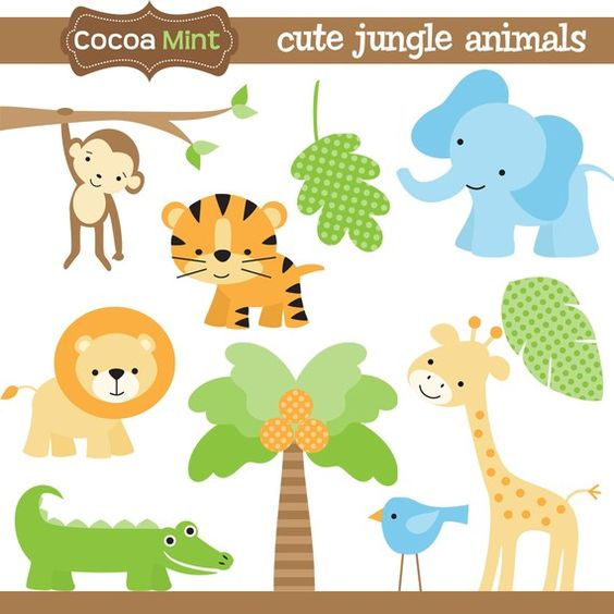 Jungle animals clip art - designs for ho-Jungle animals clip art - designs for homemade invitations, labels and banners.-4