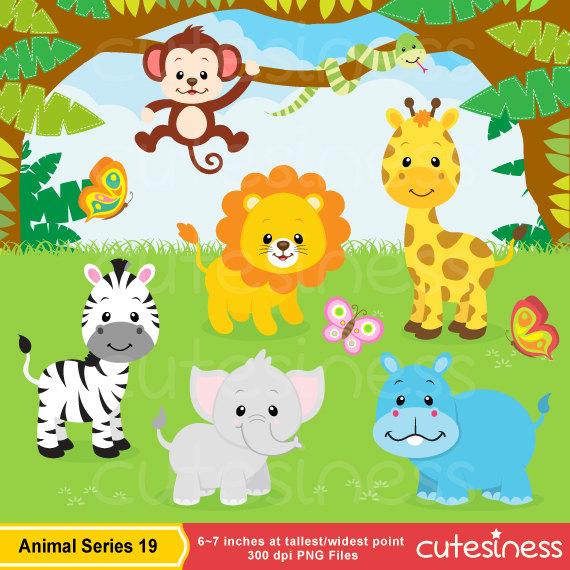 Jungle Animal Clipart , Safari clipart, Safari Clip art, Jungle Clip art, Jungle  clipart, Baby Animals Clipart, Zoo Clipart, animal clipart