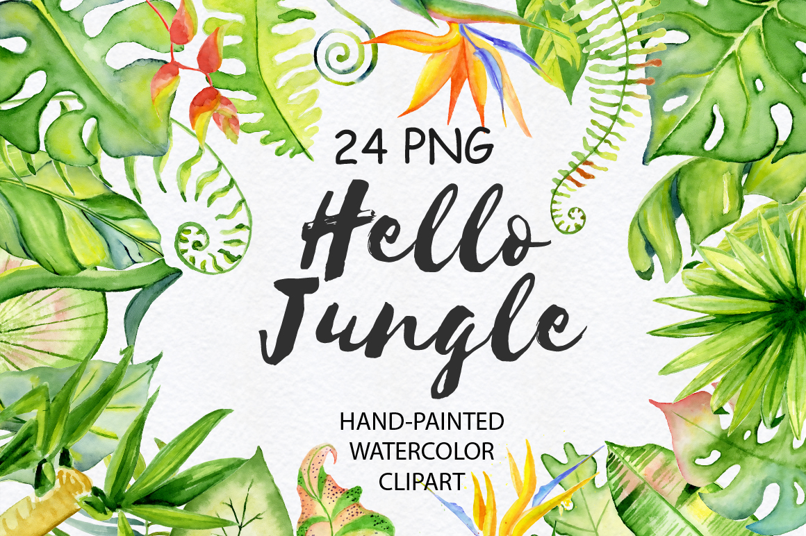 Tropical leaves watercolor jungle clipart