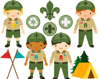 Junior Boy Scouts Clip Art for Scrapbooking Card Making Cupcake Toppers Paper Crafts