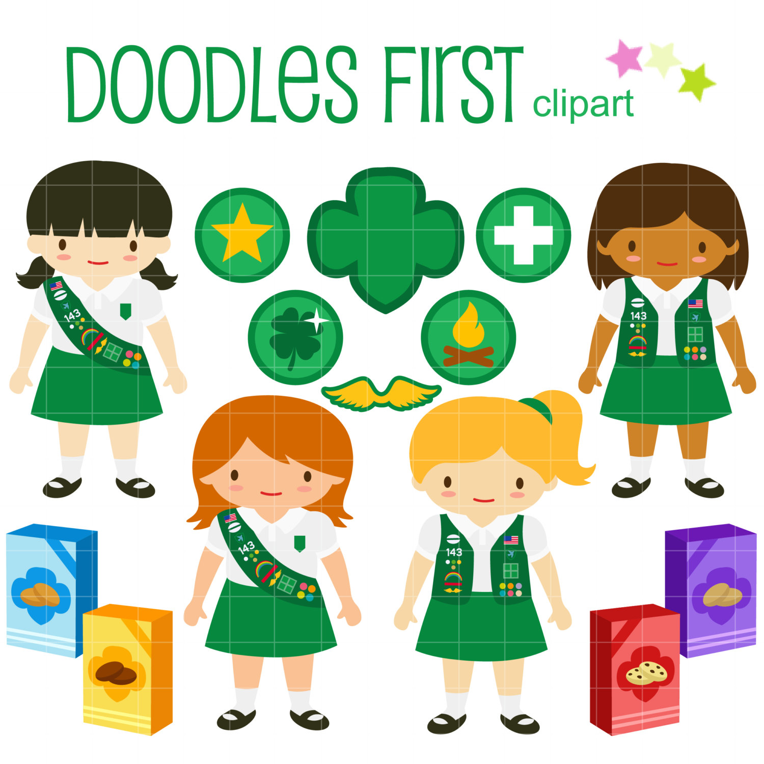 Junior Girl Scouts Clip Art for Scrapboo-Junior Girl Scouts Clip Art for Scrapbooking Card Making Cupcake Toppers Paper Crafts-3