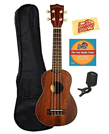 Kala MK-S Makala Soprano Ukulele Bundle with Gig Bag, Clip-On Tuner