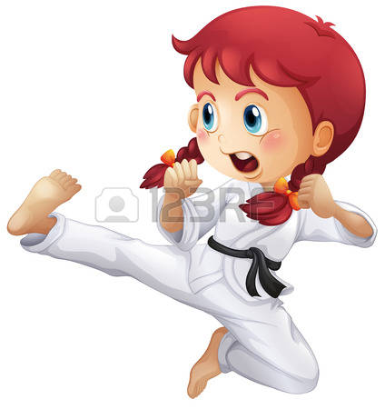 Illustration of an energetic little girl-Illustration of an energetic little girl doing karate on a white background-12