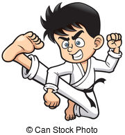 . ClipartLook.com Karate kick - Vector illustration of Boy Karate kick