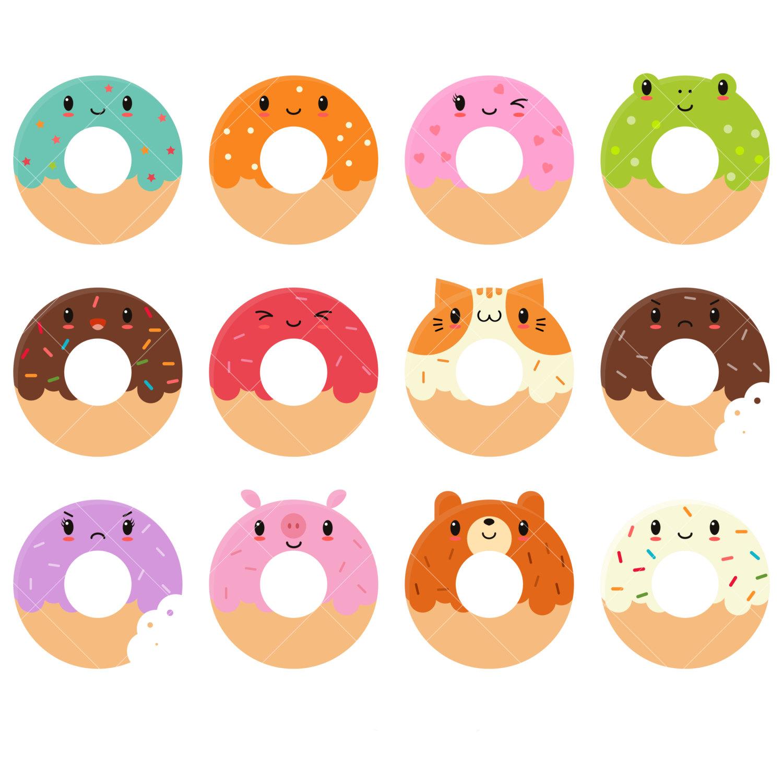 Kawaii Donuts Clipart / Cute Donut Clipart / Doughnuts Clip Art