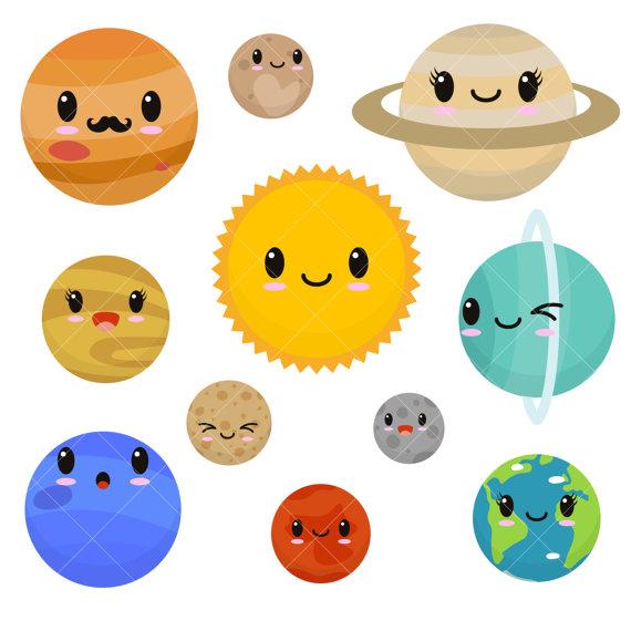 Kawaii Planets Clipart / Cute .
