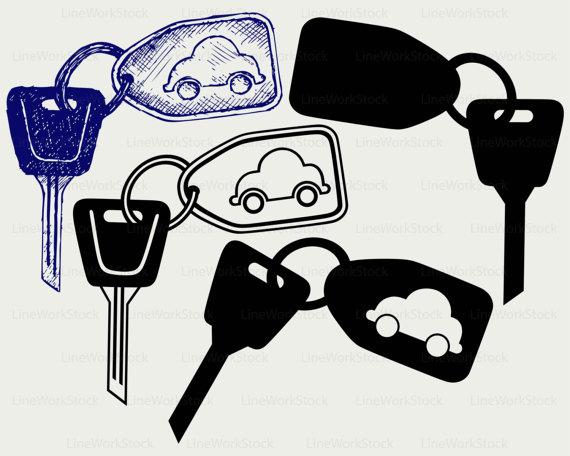 Car keys svg/car keys clipart/auto keys svg/car keys silhouette/cricut cut  files/clip art/digital download svg/eps/png/jpg from LineWorkStock on Etsy  Studio