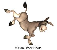 . ClipartLook.com Kicking Donkey - Illustration of a cartoon donkey kicking on.