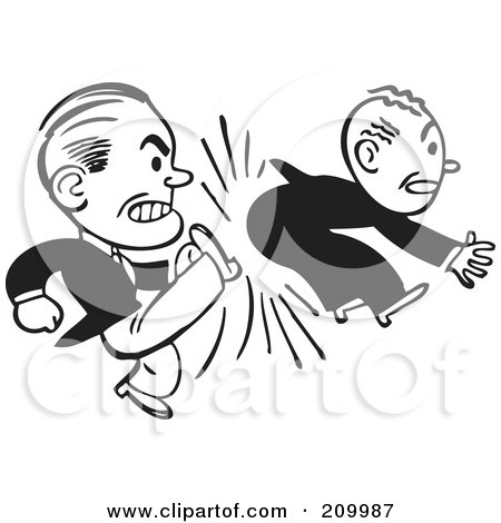 Royalty-Free (RF) Clipart Illustration of a Retro Black And White  Businessman Kicking Another In The Butt by BestVector