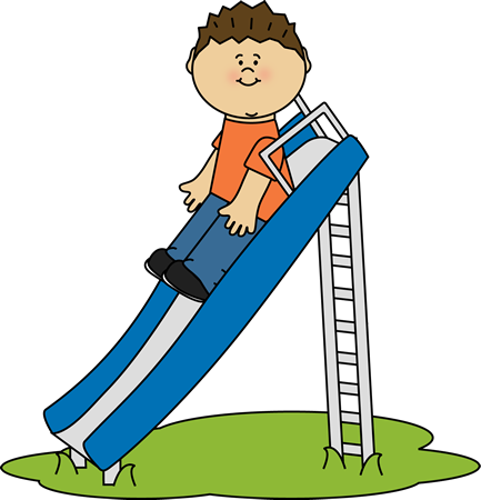 Kid Playing on a Slide Clip Art