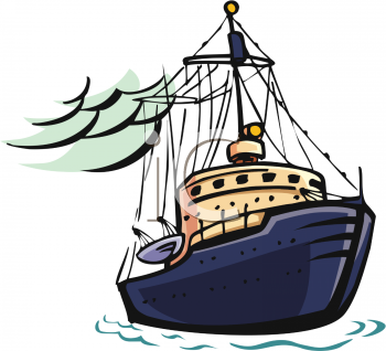 kids fishing boat clipart