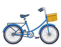 kids bicycle with basket clipart. Size: 101 Kb